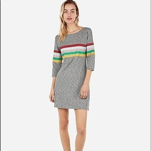 New Express 3/4 Rainbow Stipe mini shift Dress M